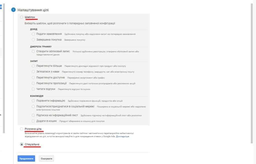 Крок 1 - Шаблони цілей Google Analytics