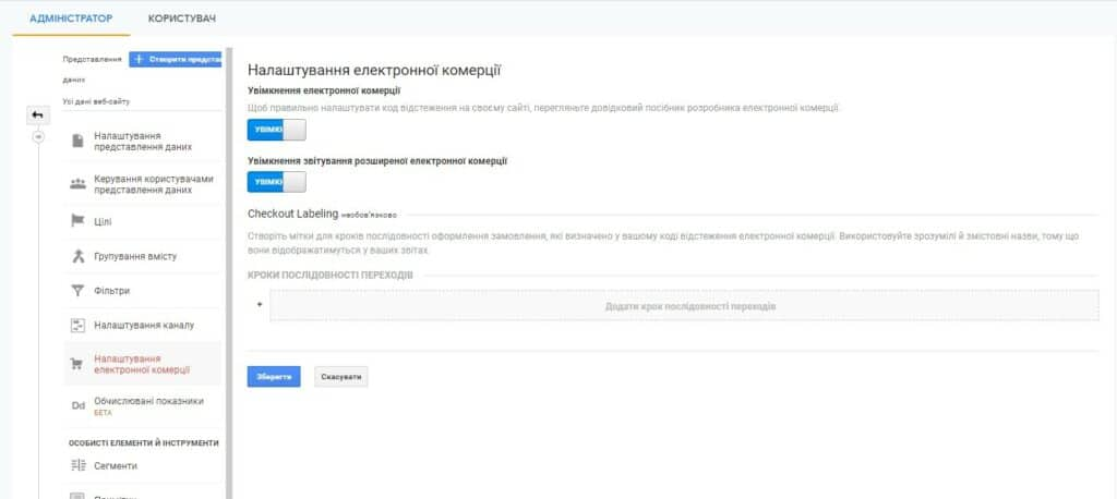 електронна торгівля гугл аналітикс